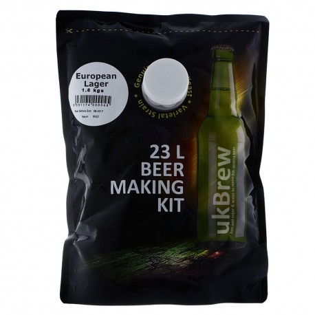 UKBrew European Lager - 1.6kg Home Brew Beer Kit 23L Beer Making Kit