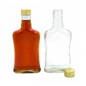 10 x Glass Bottle 200ml Concave + 10 Scrw Cap