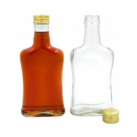 10 x Glass Bottle 200ml Concave + 10 Scrw Cap