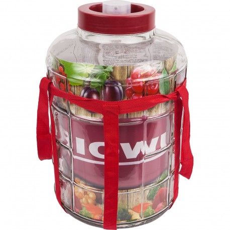 15l glass carboy with nylon straps and plastic cap - 601615