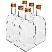 6 x 500ml glass bottle -  wave shape - with screw cap 631492