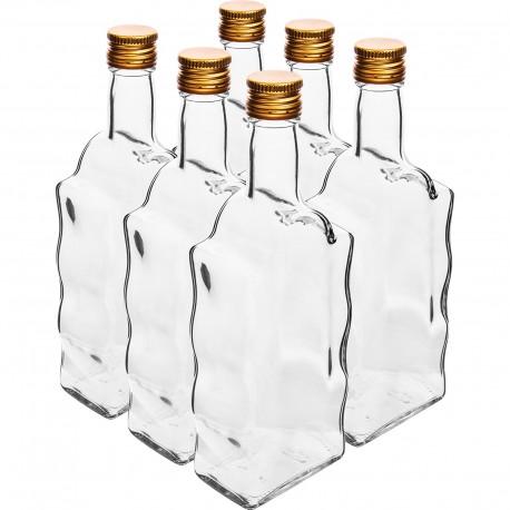 500ml glass bottle -  wave shape - with screw cap 631492