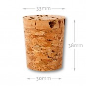 Natural tapered cork 30/33 mm , agglomerate 652600