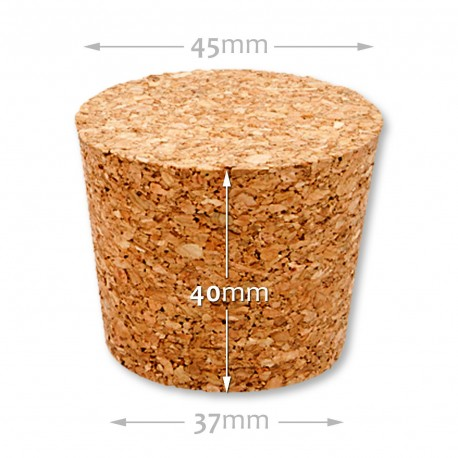 Natural tapered cork 25/30 mm , agglomerate 652500