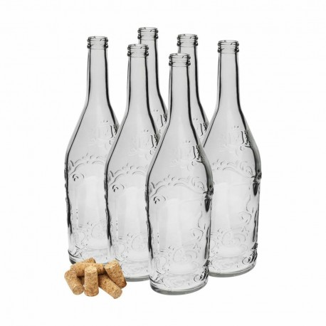 6 x decorative glass bottles 500ml with corks