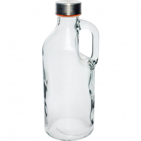 1 liter Glass Bottle with handle and silver caps