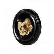 Twist off lid Ø 82mm - 6 hooks - Black with Bee