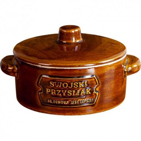 1l Roud Stoneware crock lard pot with lid