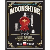 Bottles label MOONSHINE STRONG AGED VODKA