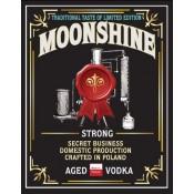 Bottles label MOONSHINE STRONG AGED VODKA