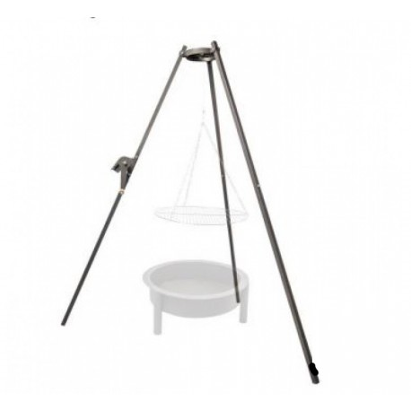 Tripod grill with a steel and heat-resist